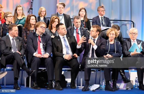 France's President Emmanuel Macron speaks next to French Labour Minister Muriel Penicaud as Sweden's Prime minister Stefan Lofven Estonia's Prime...
