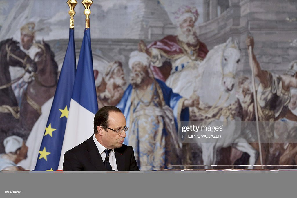 France's president Francois Hollande addresses representatives of France's Chinese community associations on February 18, 2013 at the Elysee Presidential Palace in Paris, to mark the Chinese Lunar New Year.