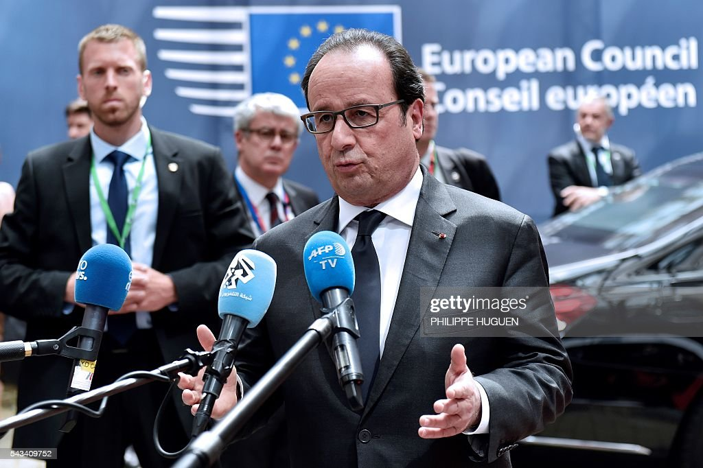 France's President Francois Hollande arrives before an EU summit meeting on June 28, 2016 at the European Union headquarters in Brussels. / AFP / PHILIPPE