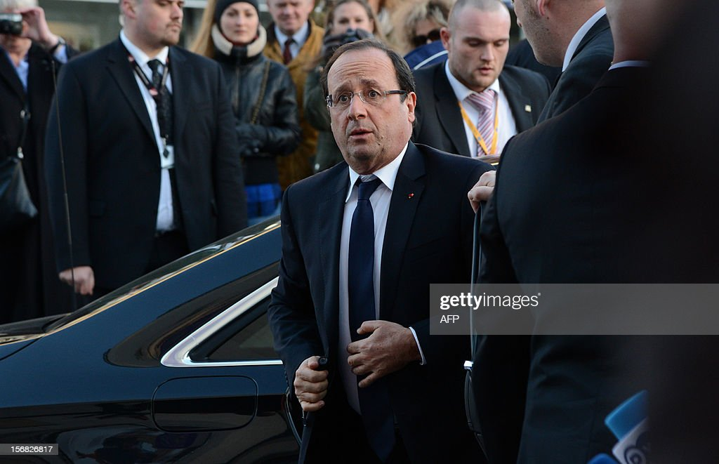 France's President Francois Hollande arrives to attend a European socialist leaders meeting on November 22, 2012 in Brussels, in parallel to a two-day European Union leaders summit called to agree a hotly-contested trillion-euro budget through 2020. European Union officials were scrambling to find an all but impossible compromise on the 2014-2020 budget that could successfully move richer nations looking for cutbacks closer to poorer ones who look to Brussels to prop up hard-hit industries and regions.