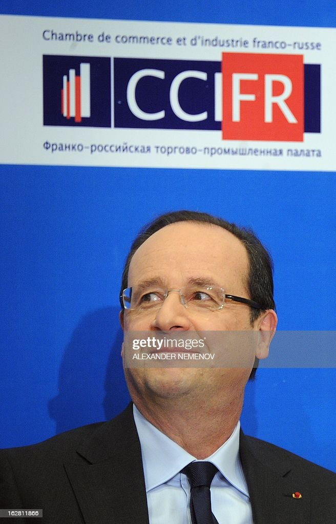 France's President Francois Hollande attends a meeting with Russian and French businessmen at an economic forum in Moscow on February 28, 2013, prior to a meeting with Russia's President Vladimir Putin at the Kremlin. Hollande said today on a visit to Moscow that he believed it would be possible to come to a political decision on the Syrian conflict in the coming weeks.