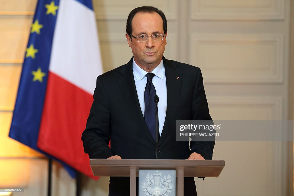 France's President Francois Hollande delivers a statement on the situation in Mali at the Elysee Palace in Paris, on January 11, 2013. France's President Hollande confirmed that French armed forces began an intervention today to support Malian government forces.