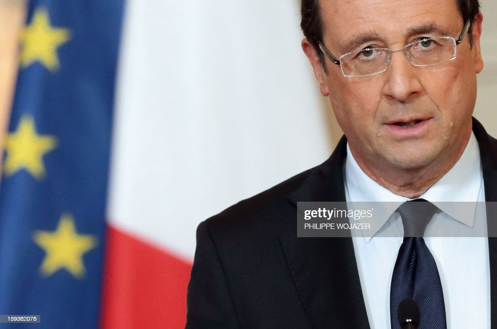 France's President Francois Hollande delivers a statment on the situation in Mali at the Elysee Palace in Paris, on January 11, 2013. French troops are actively supporting an offensive by Mali government forces against Islamists who control the north of the country, President Francois Hollande announced.