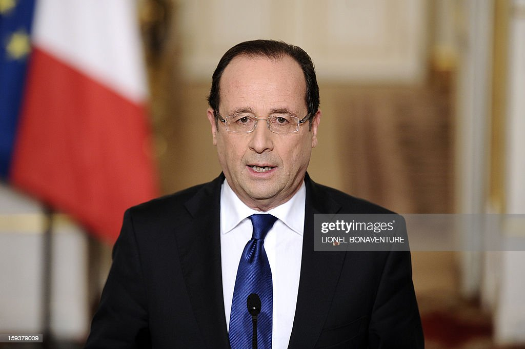 France's president Francois Hollande gives a speech focused on the Malian situation, on January 12, 2013 at the Elysee presidential palace in Paris. Backed by French air power, Malian troops on January 11, 2013 unleashed an offensive against Islamist rebels who, having seized control of the north of the country in March last year, were threatening to push south. France has asked the United Nations to 'accelerate' implementation of a resolution that enables the deployment of an international force to Mali.