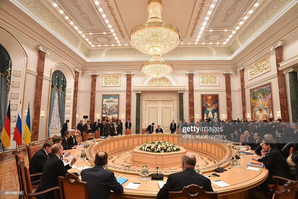 France's President Francois Hollande Russia's President Vladimir Putin German Chancellor Angela Merkel and Ukraine's President Petro Poroshenko...