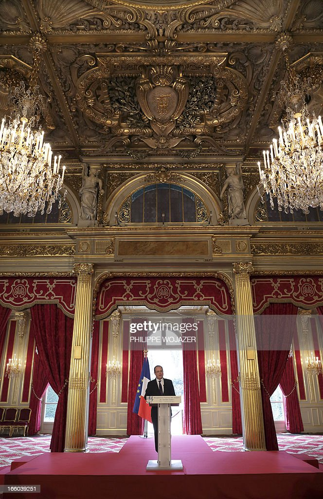 France's President Francois Hollande speaks during a ceremony attended by skippers of the seventh edition of the Vendee Globe solo round-the-world yacht race, at the Elysee Palace in Paris, on April 8, 2013. Hollande awarded French skipper Francois Gabart (2L) with the French Legion of Honor, the highest decoration in France, for his victory in the Vendee Globe in January.