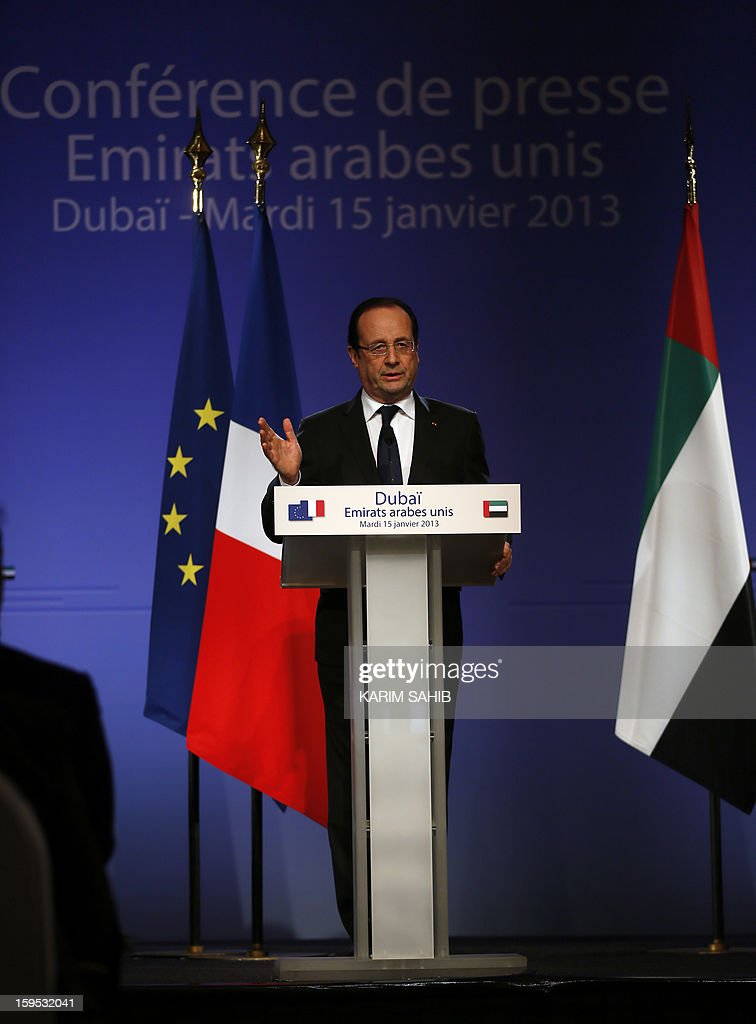 France's President Francois Hollande speaks during a press conference at the World Future Energy Summit (WFES) in Dubai on January 15, 2013.