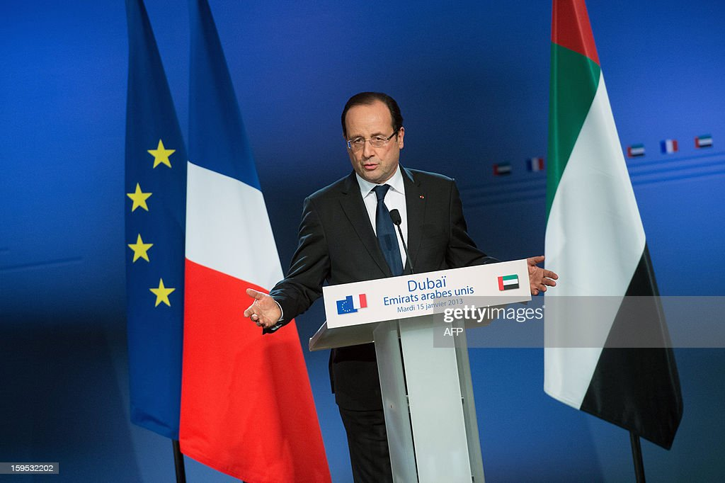 France's President Francois Hollande speaks during a press conference at the World Future Energy Summit (WFES) in Dubai on January 15, 2013. AFP PHOTO/BERTRAND LANGLOIS