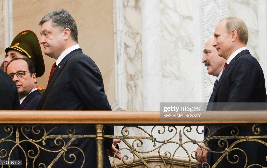 France's President Francois Hollande Ukraine's President Petro Poroshenko Belarus' President Alexander Lukashenko and Russian President Vladimir...