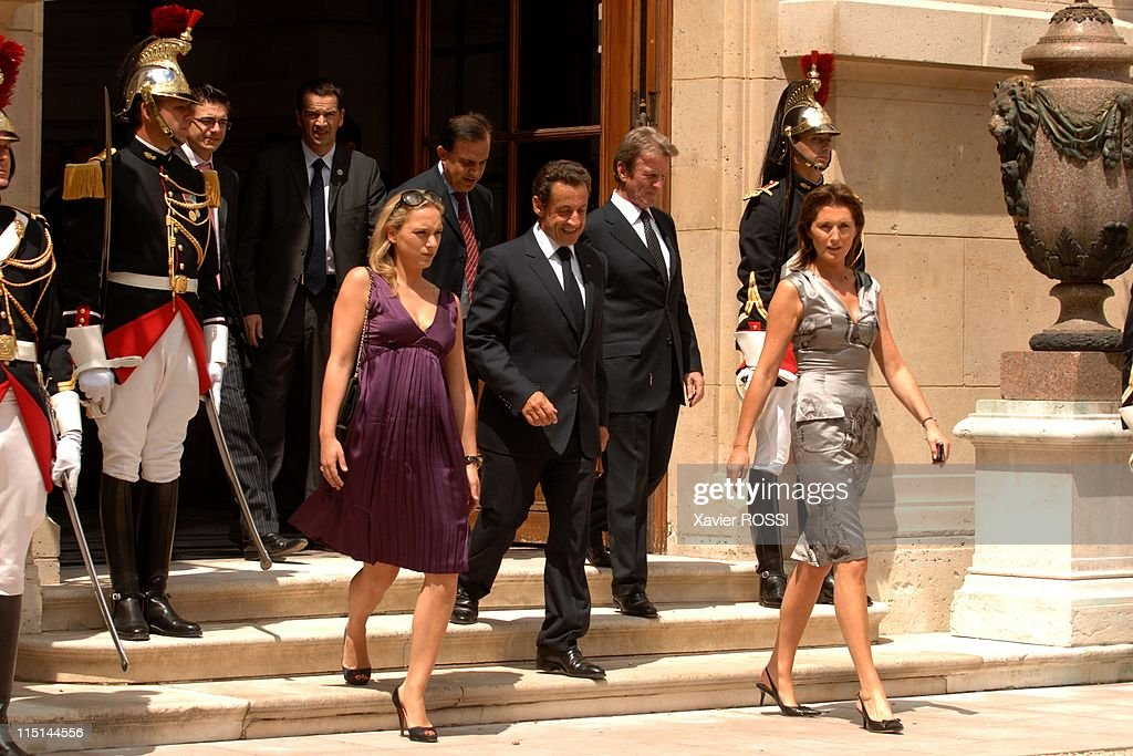 France's President <a gi-track='captionPersonalityLinkClicked' href=/galleries/search?phrase=Nicolas+Sarkozy&family=editorial&specificpeople=211375 ng-click='$event.stopPropagation()'>Nicolas Sarkozy</a> at the Hotel Marigny for a lunch with members of the government during the celebration of the Bastille day in Paris, France on July 14, 2007 - Judith Martin, <a gi-track='captionPersonalityLinkClicked' href=/galleries/search?phrase=Nicolas+Sarkozy&family=editorial&specificpeople=211375 ng-click='$event.stopPropagation()'>Nicolas Sarkozy</a>, <a gi-track='captionPersonalityLinkClicked' href=/galleries/search?phrase=Roger+Karoutchi&family=editorial&specificpeople=4081438 ng-click='$event.stopPropagation()'>Roger Karoutchi</a>, <a gi-track='captionPersonalityLinkClicked' href=/galleries/search?phrase=Bernard+Kouchner&family=editorial&specificpeople=2033085 ng-click='$event.stopPropagation()'>Bernard Kouchner</a>, Cecilia Sarkozy.
