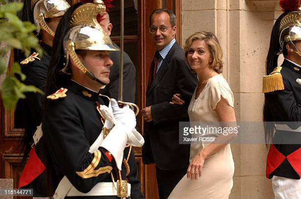 France's President Nicolas Sarkozy at the Hotel Marigny for a lunch with members of the government during the celebration of the Bastille day in...