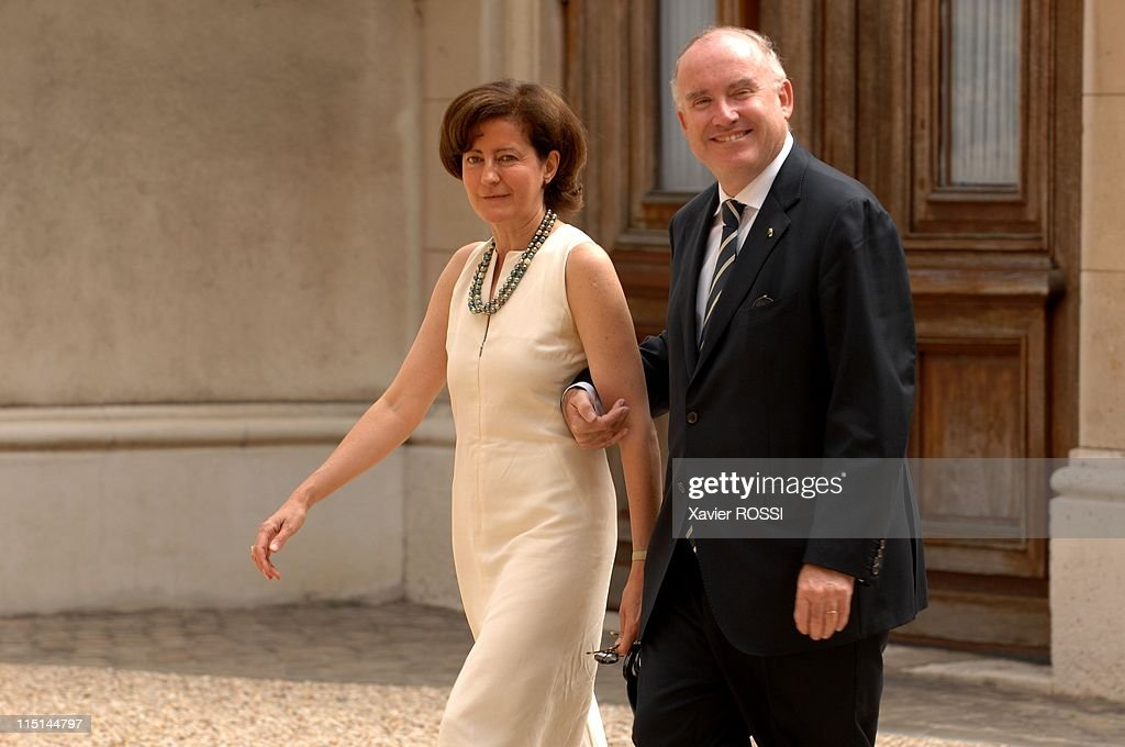 France's President <a gi-track='captionPersonalityLinkClicked' href=/galleries/search?phrase=Nicolas+Sarkozy&family=editorial&specificpeople=211375 ng-click='$event.stopPropagation()'>Nicolas Sarkozy</a> at the Hotel Marigny for a lunch with members of the government during the celebration of the Bastille day in Paris, France on July 14, 2007 - <a gi-track='captionPersonalityLinkClicked' href=/galleries/search?phrase=Dominique+Bussereau&family=editorial&specificpeople=722874 ng-click='$event.stopPropagation()'>Dominique Bussereau</a> and his wife.