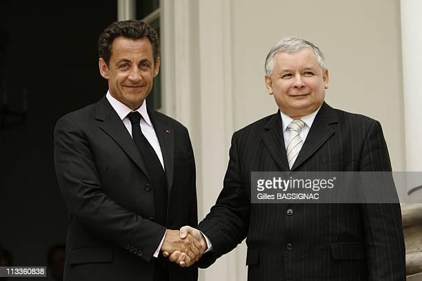 France'S President Nicolas Sarkozy Meets Poland Prime Minister Jaroslaw Kaczynski At The Belvedere Palace In Warsaw Poland On June 14 2007