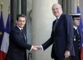 France's President Nicolas Sarkozy welcomes Lebanese Prime minister Najib Mikati at the presidential Elysee Palace on February 10 2012 in Paris AFP...