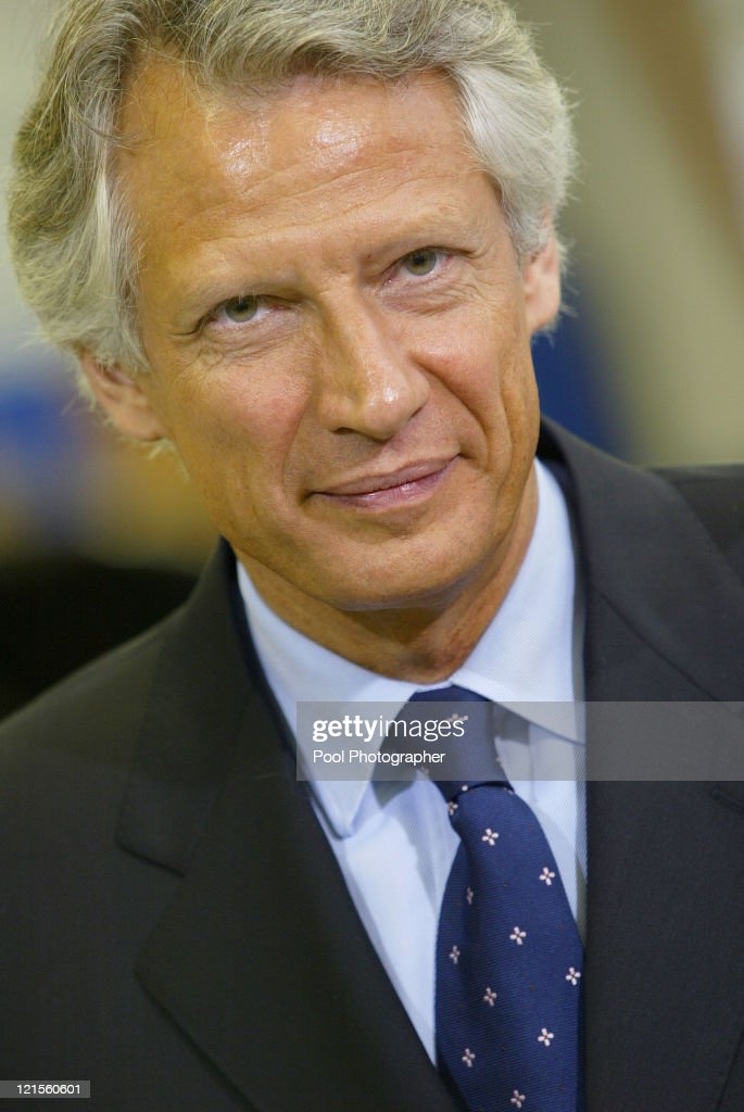 France's Prime Minister <a gi-track='captionPersonalityLinkClicked' href=/galleries/search?phrase=Dominique+de+Villepin&family=editorial&specificpeople=548074 ng-click='$event.stopPropagation()'>Dominique de Villepin</a> during an Official Visit to Industrial Jobs Formation Centre, Paris 20 January 2006
