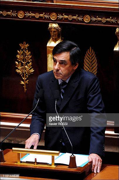 France's Prime Minister Francois Fillon delivers a speech in front of the newly elected National Assembly outlining his government's priorities in...