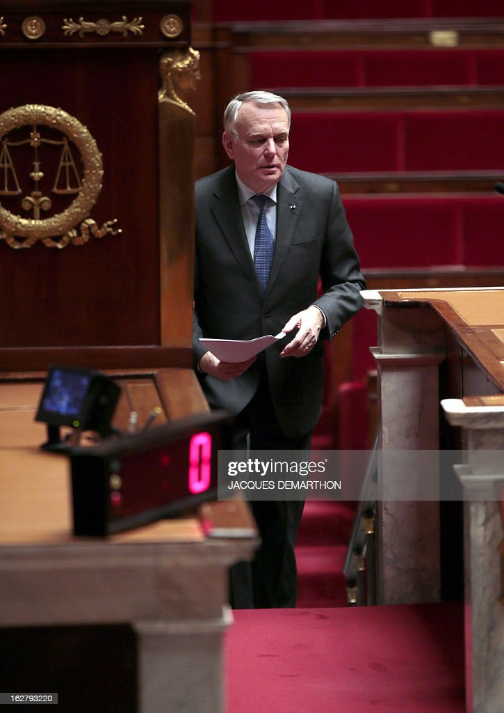 France's Prime Minister Jean-Marc Ayrault arrives for a debate on Mali, on February 27, 2013 at the National Assembly in Paris.