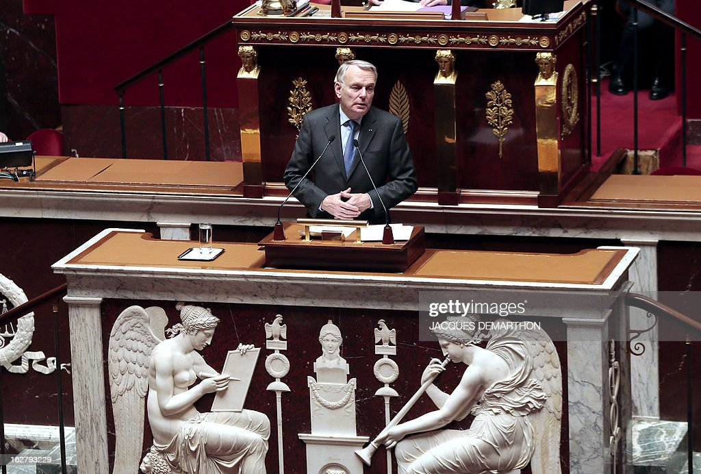 France's Prime Minister Jean-Marc Ayrault speaks during a debate on Mali, on February 27, 2013 at the National Assembly in Paris. AFP PHOTO / JACQUES DEMARTHON