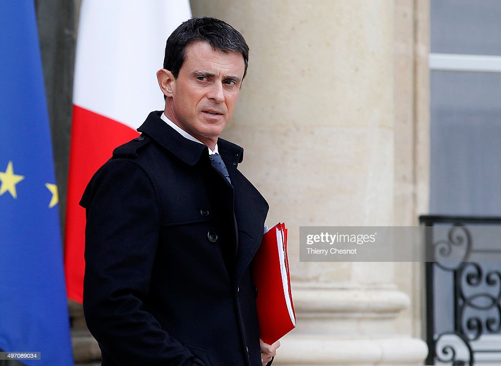 France's Prime minister <a gi-track='captionPersonalityLinkClicked' href=/galleries/search?phrase=Manuel+Valls&family=editorial&specificpeople=2178864 ng-click='$event.stopPropagation()'>Manuel Valls</a> leaves the Elysee Palace after a security meeting, on November 14, 2015 in Paris, France. The meeting follows a series of coordinated terrorist attacks in the French capital that left at least 127 people dead and over 200 injured.
