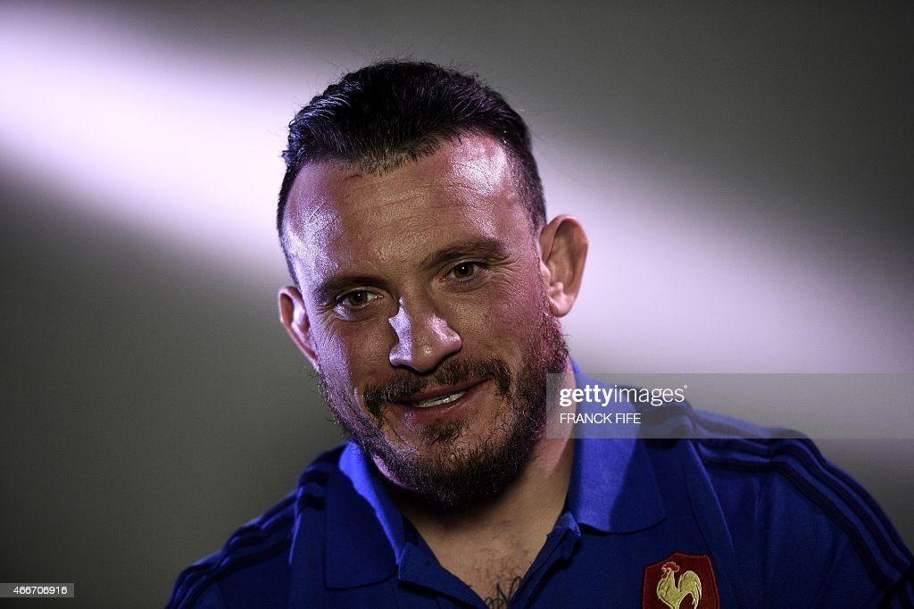 France's prop <a gi-track='captionPersonalityLinkClicked' href=/galleries/search?phrase=Thomas+Domingo&family=editorial&specificpeople=4651174 ng-click='$event.stopPropagation()'>Thomas Domingo</a> is pictured during a after a press conference in Marcoussis, south of Paris, on March 18, 2015 ahead of the Six Nations rugby union match between France and England.