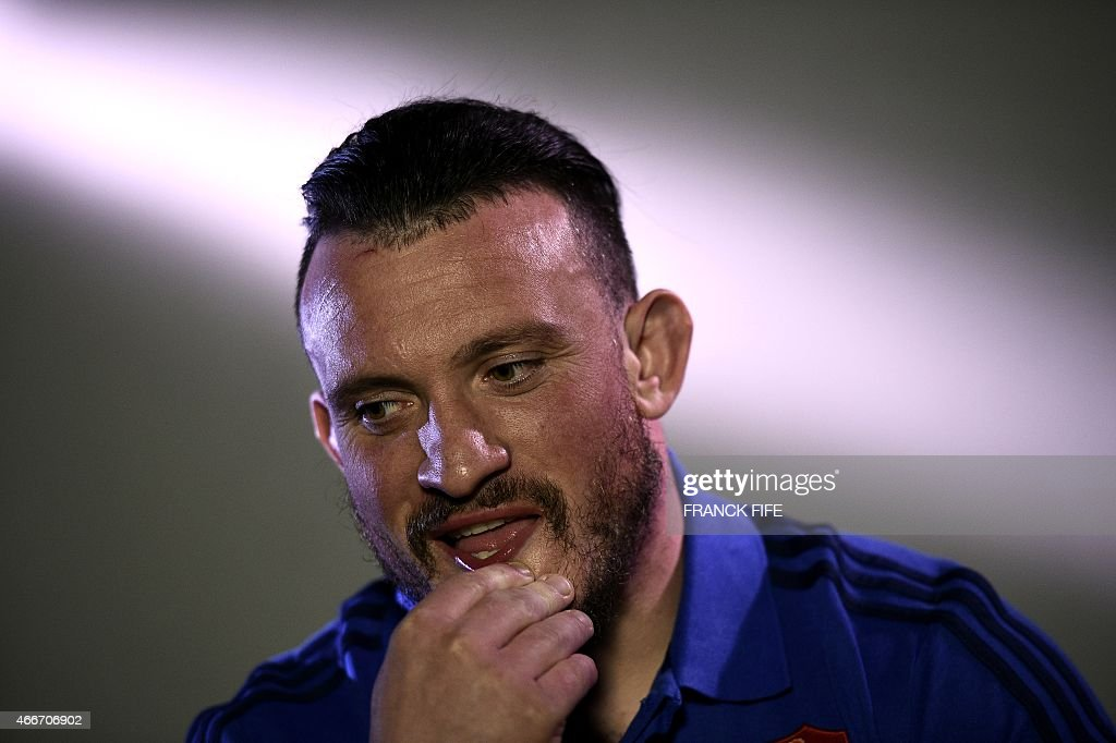 France's prop <a gi-track='captionPersonalityLinkClicked' href=/galleries/search?phrase=Thomas+Domingo&family=editorial&specificpeople=4651174 ng-click='$event.stopPropagation()'>Thomas Domingo</a> reacts after a press conference in Marcoussis, south of Paris, on March 18, 2015 ahead of the Six Nations rugby union match between France and England.