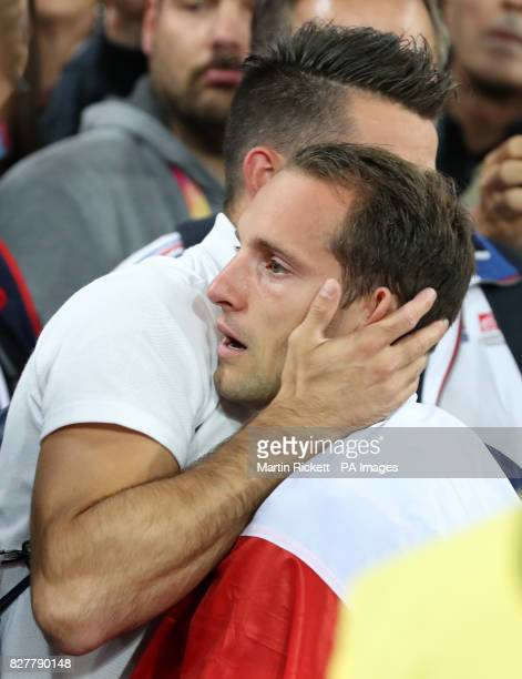 France's Renaud Lavillenie after winning Silver in the Men's Pole Vault Final during day five of the 2017 IAAF World Championships at the London...