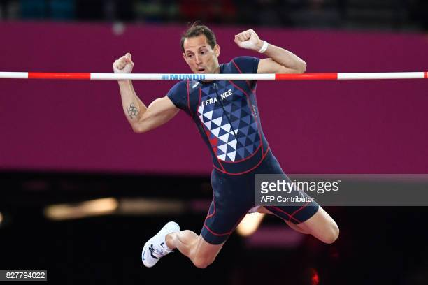 France's Renaud Lavillenie competes in the final of the men's pole vault athletics event at the 2017 IAAF World Championships at the London Stadium...