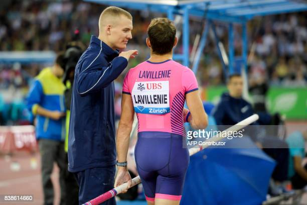 France's Renaud Lavillenie is greeted by Sam Kendricks of the US he competes in the pole vault during the IAAF Diamond League Athletics Weltklasse...
