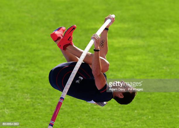 France's Renaud Lavillenie on his way to taking Gold in the Men's Pole Vault Final during day five of the 2014 European Athletics Championships at...