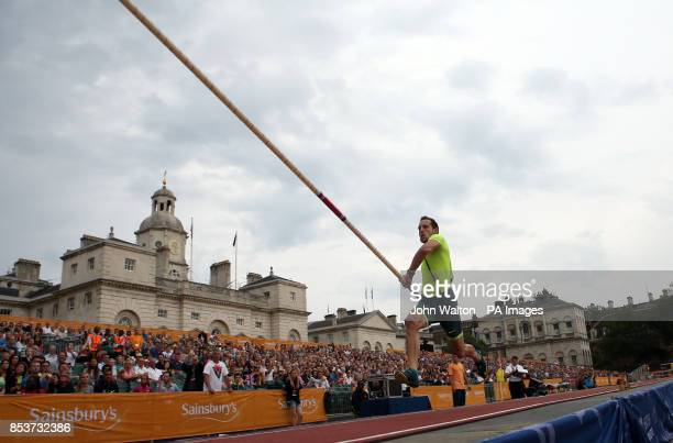 France's Renaud Lavillenie on his way to winning the Men's Pole Vault during the London Anniversary Games at Horse Guards Parade London