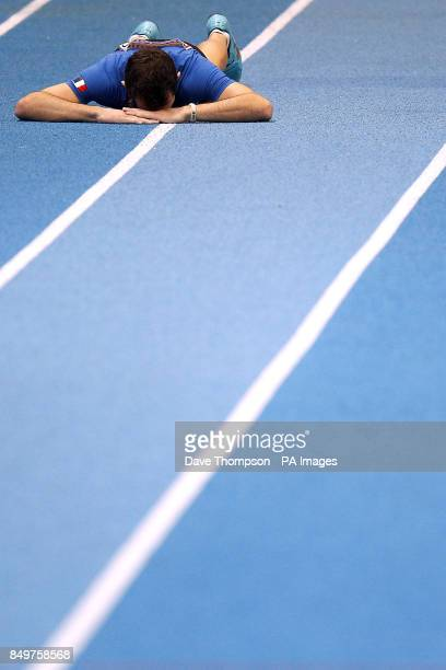 France's Renaud Lavillenie reacts after winning gold in the Men's Pole Vault Final