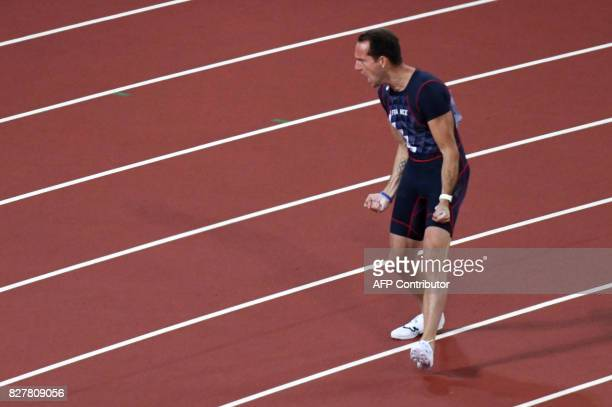 France's Renaud Lavillenie reacts during the final of the men's pole vault athletics event at the 2017 IAAF World Championships at the London Stadium...
