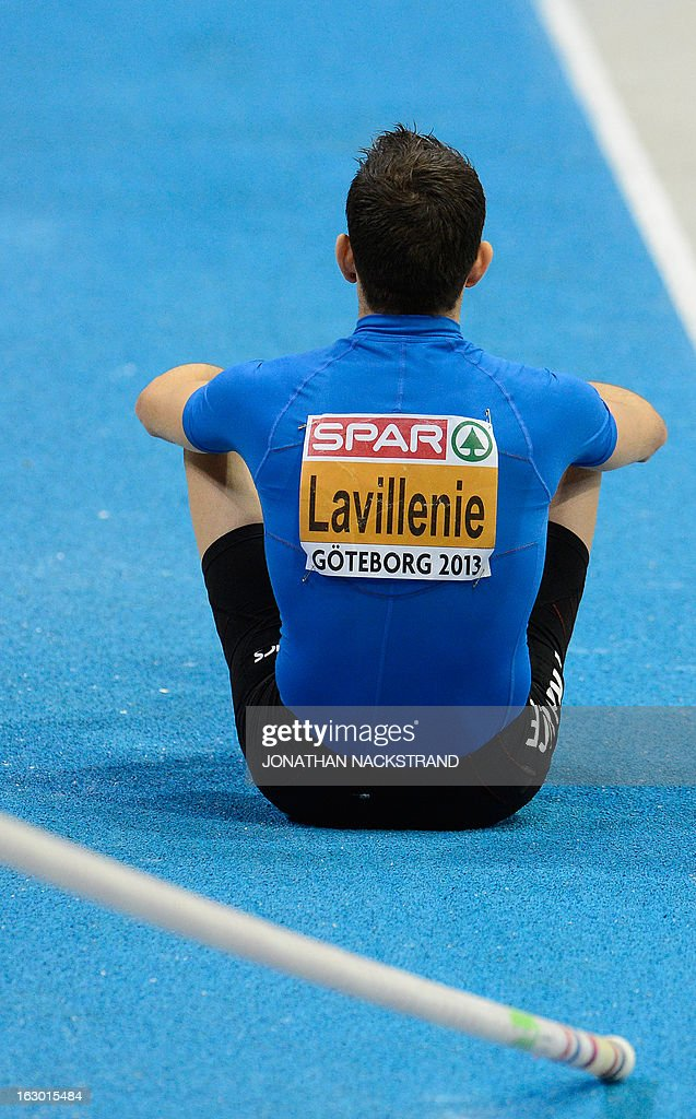 France's Renaud Lavillenie sits on the track during the Pole Vault Men's Final on the podium at the European Indoor athletics Championships in Gothenburg, Sweden, on March 3, 2013.