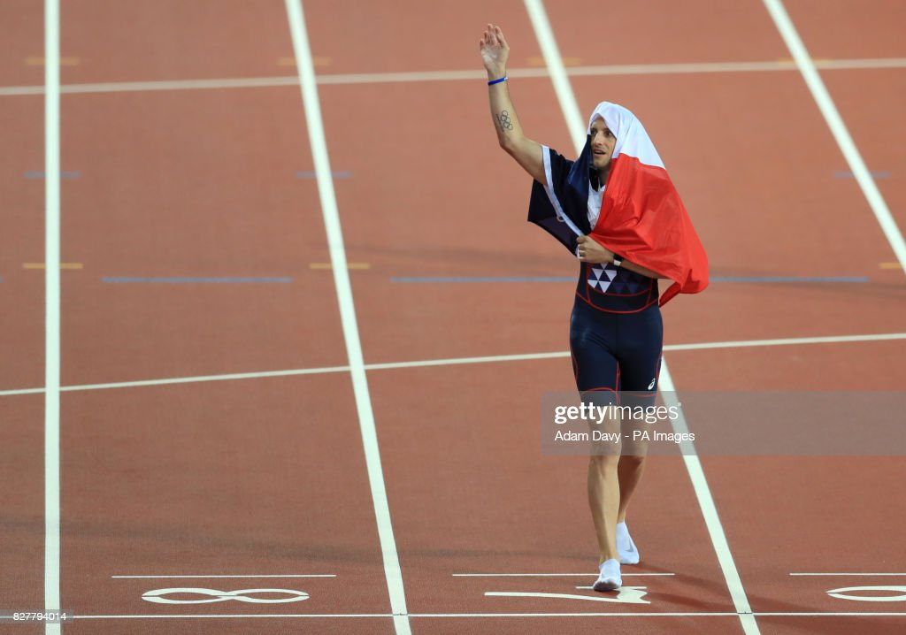 France's Reynaud Lavillenie celebrates bronze in the Men's Pole Vault during day five of the 2017 IAAF World Championships at the London Stadium.