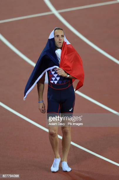 France's Reynaud Lavillenie celebrates bronze in the Men's Pole Vault during day five of the 2017 IAAF World Championships at the London Stadium