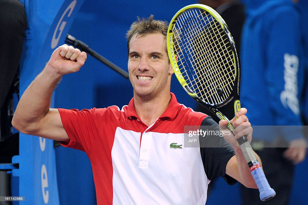 France's Richard Gasquet celebrates after beating his Finnish opponent Jarkko Nieminen during the Open Sud de France world tour ATP Series semi final tennis match, on February 9, 2013 in Montpellier southern France. Gasquet won the match.