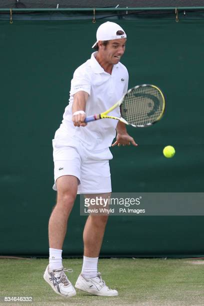 France's Richard Gasquet in action against France's Sebastien Grosjean during the Wimbledon Championships 2008 at the All England Tennis Club in...