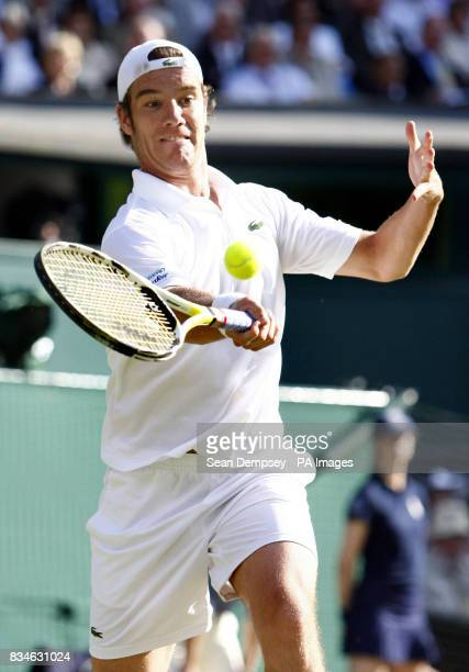 France's Richard Gasquet in action against Great Britain's Andy Murray during the Wimbledon Championships 2008 at the All England Tennis Club in...