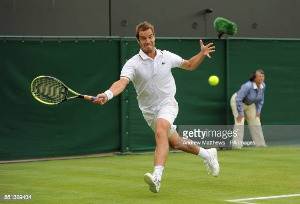 France's Richard Gasquet in action against Spain's Marcel Granollers during day two of the Wimbledon Championships at The All England Lawn Tennis and...