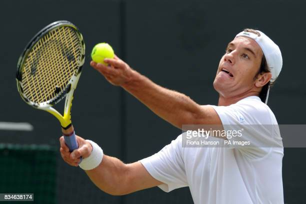 France's Richard Gasquet in action against USA's Mardy Fish during the Wimbledon Championships 2008 at the All England Tennis Club in Wimbledon