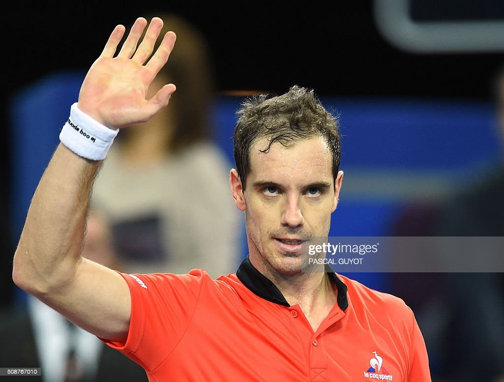 France's Richard Gasquet reacts after winning his semi-final tennis match against Germany's Dustin Brown at the Open Sud de France ATP World Tour in Montpellier, southern France, on February 6, 2016. / AFP / PASCAL GUYOT