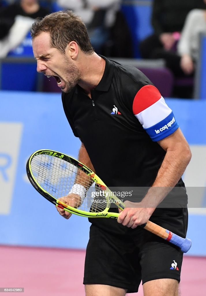 France's Richard Gasquet reacts during his tennis match against France's Kenny de Schepper during the Open Sud de France ATP World Tour in Montpellier, southern France, on February 10, 2017