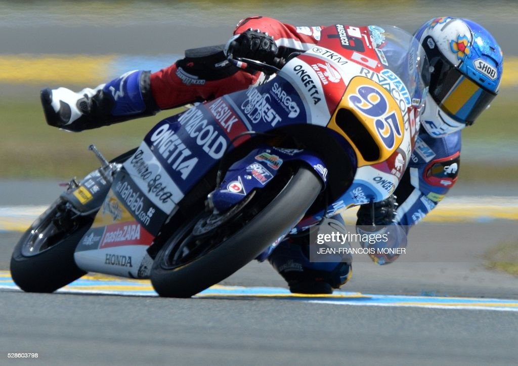 France's rider Jules Danilo competes on his Honda Ongetta-Rivacold N��95 during a moto3 free practice session, ahead of the French motorcycling Grand Prix, on May 6, 2016 in Le Mans, northwestern France. / AFP / JEAN