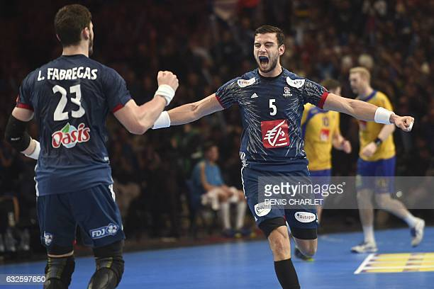 TOPSHOT France's right back Nedim Remili celebrates a goal during the 25th IHF Men's World Championship 2017 quarter final handball match France vs...