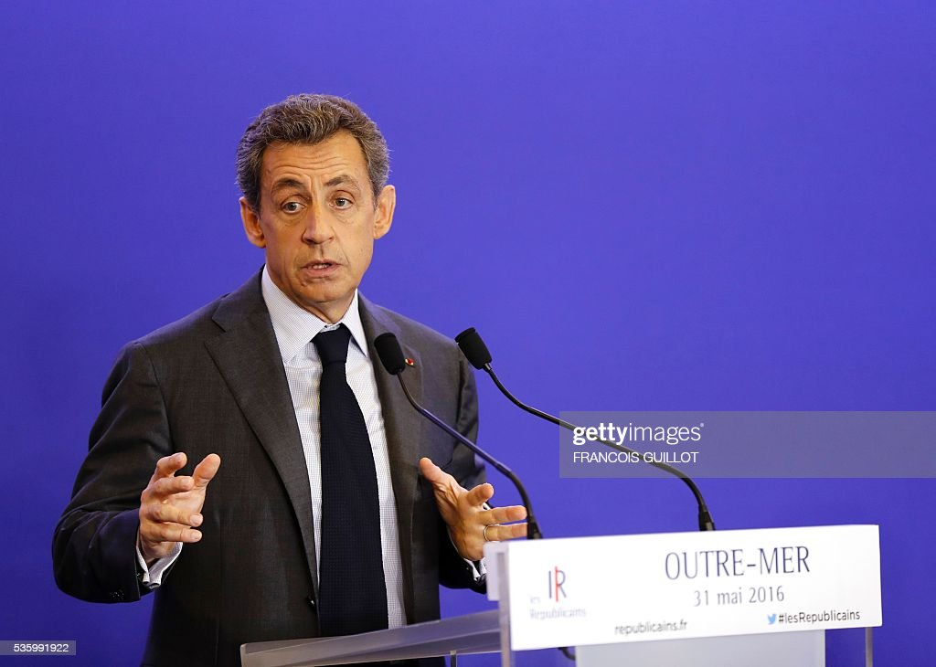 France's right-wing Les Republicains (LR) party president and candidate for the 2017 presidential elections, Nicolas Sarkozy speaks on May 31, 2016 in Paris after a party working session on French overseas territories. / AFP / FRANCOIS