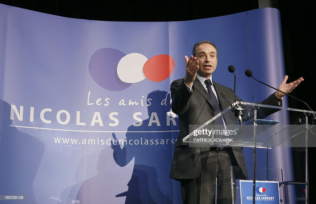 France's right-wing opposition UMP leader Jean-Francois Cope delivers a speech during a meeting of the association 'The friends of Nicolas Sarkozy', on February 20, 2013 in Paris. Former French Prime Minister Alain Juppe declared to French media on February 13, 2013 that former French President Sarkozy is willing to run for France's next Presidential elections in 2017, adding that Sarkozy 'follows with much attention the political affairs'.