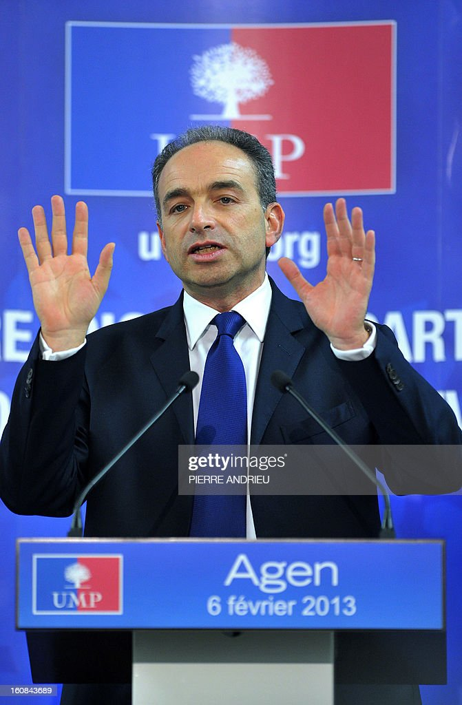 France's right-wing opposition UMP leader Jean-Francois Cope gestures as he speaks, on February 6, 2013 during a meeting in Agen. AFP PHOTO / PIERRE ANDRIEU