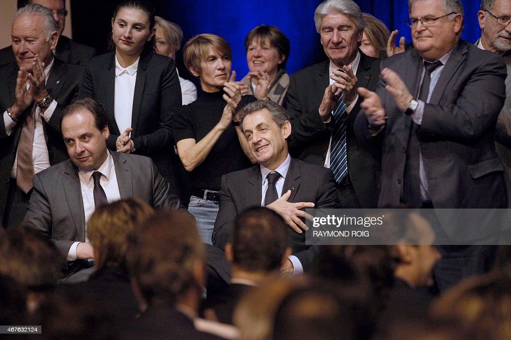 France's right-wing Union for a Popular Movement (UMP) leader and former French president <a gi-track='captionPersonalityLinkClicked' href=/galleries/search?phrase=Nicolas+Sarkozy&family=editorial&specificpeople=211375 ng-click='$event.stopPropagation()'>Nicolas Sarkozy</a> (R) and President of the center-right party UDI <a gi-track='captionPersonalityLinkClicked' href=/galleries/search?phrase=Jean-Christophe+Lagarde&family=editorial&specificpeople=7499467 ng-click='$event.stopPropagation()'>Jean-Christophe Lagarde</a> are seen during a meeting ahead of the second round of departemental local elections in Perpignan, on March 26, 2015. The first round of departemental local elections took place on March 22. The second round will take place on March 29.