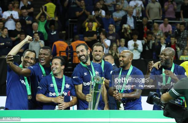 France's Robert Pires lifts the Star Sixes trophy after his Side won the Tournament at The O2 Arena London PRESS ASSOCIATION Photo Picture date...