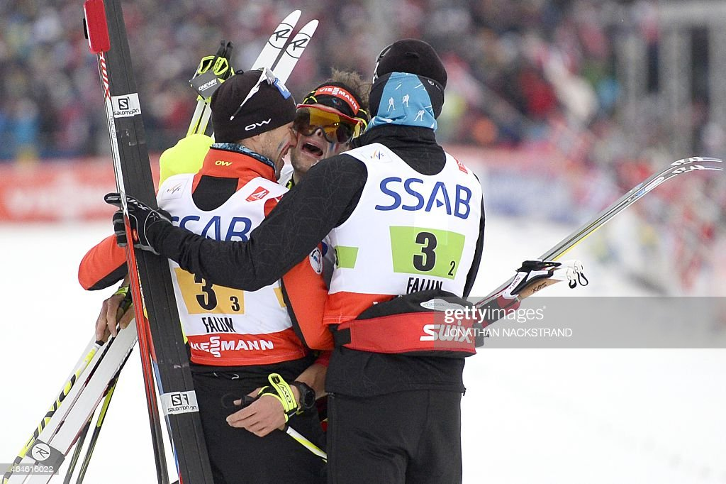 France's <a gi-track='captionPersonalityLinkClicked' href=/galleries/search?phrase=Robin+Duvillard&family=editorial&specificpeople=6680782 ng-click='$event.stopPropagation()'>Robin Duvillard</a>, Adrien Backscheider and <a gi-track='captionPersonalityLinkClicked' href=/galleries/search?phrase=Maurice+Manificat&family=editorial&specificpeople=5632025 ng-click='$event.stopPropagation()'>Maurice Manificat</a> react at the finish line after placing third in the men's 4x10 km cross-country relay at the 2015 FIS Nordic Skiing World Championships in Falun, Sweden, February 27, 2015. AFP PHOTO / JONATHAN NACKSTRAND
